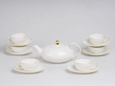 Bộ trà elip chỉ vàng