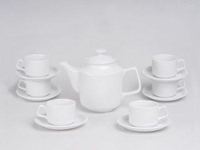 Bộ trà nắp lồi trắng