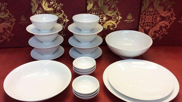 Bộ đồ ăn Minh Long Jasmine Men Trắng 22 sản phẩm