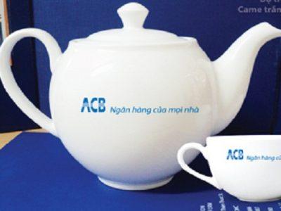 Bộ ấm Trà in logo ACB, ấm chén in logo Minh Long, Ấm chén in logo ACB bát Tràng
