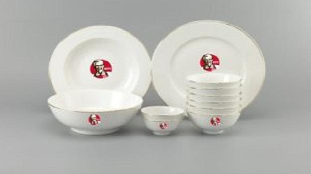 Bộ Đồ Ăn Minh Long Jasmine Chỉ Vàng 11 Sp Giá In Logo KFC