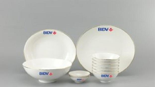 Bộ Đồ Ăn Minh Long Daisy  IFP Chỉ Vàng 11 Sp Giá In Logo BIDV