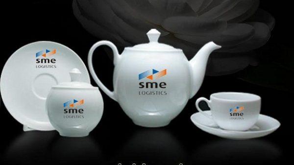 Bộ ấm Trà in logo SEM, ấm chén in logo Minh Long, Ấm chén in logo SEM bát Tràng