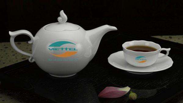 Bộ ấm Trà in logo Viettel, ấm chén in logo Minh Long, Ấm chén in logo bát Tràng