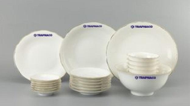 Bộ Đồ Ăn Minh Long Mẫu Đơn Chỉ Bạch Kim 22 Sp Giá In Logo Traphaco