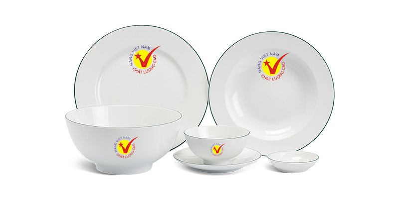 Bộ bàn ăn Minh Long in logo cho nhà hàng
