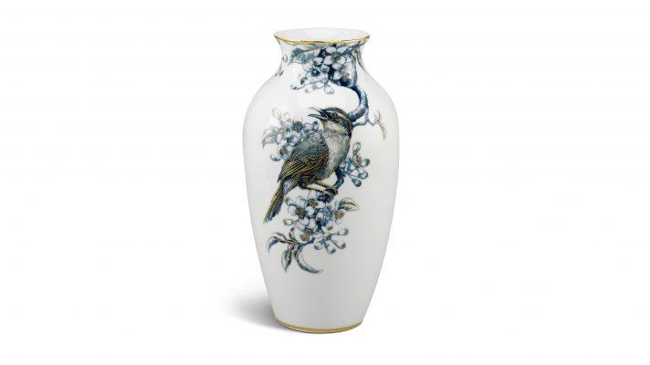 Bình hoa 27 cm – Họa Mi và Hoa Bưởi – Cobalt Vàng