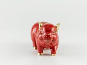 Heo Minh Long Tài Lộc 15cm – Đỏ Chỉ Vàng