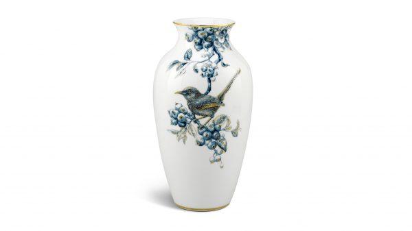 Hình ảnh bình hoa, Bình hoa 27 cm - Chích Chòe và Quả Quất - Cobalt Vàng