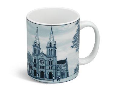 ly sứ, ca trà, cốc sứ minh long, Ca bia 0.36 L - Nhà Thờ Đức Bà