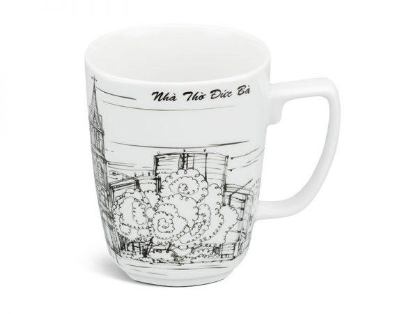 ly sứ, ca trà, cốc sứ minh long, Ca vuông 0.36 L - Nhà Thờ Đức Bà
