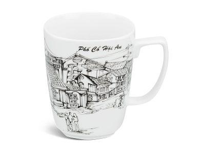 ly sứ, ca trà, cốc sứ minh long, Ca vuông 0.36 L - Phố Cổ Hội An