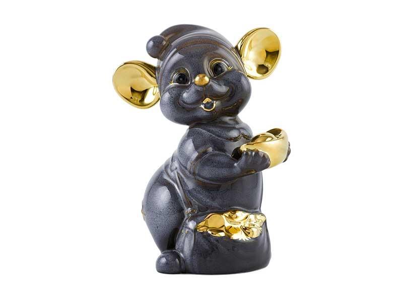 Chuột Quý 10 cm – Màu xám – Trang trí vàng 24K
