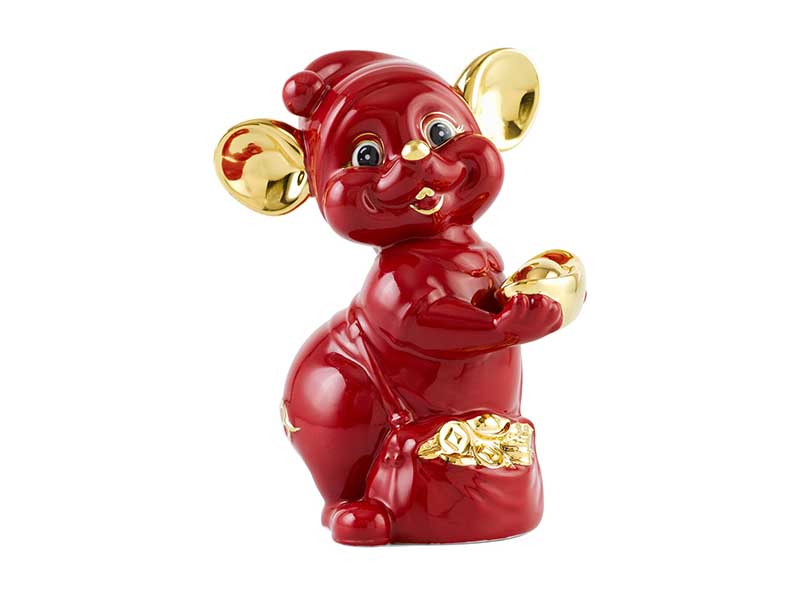 Chuột Quý 10 cm – Màu Đỏ – Trang trí vàng 24K