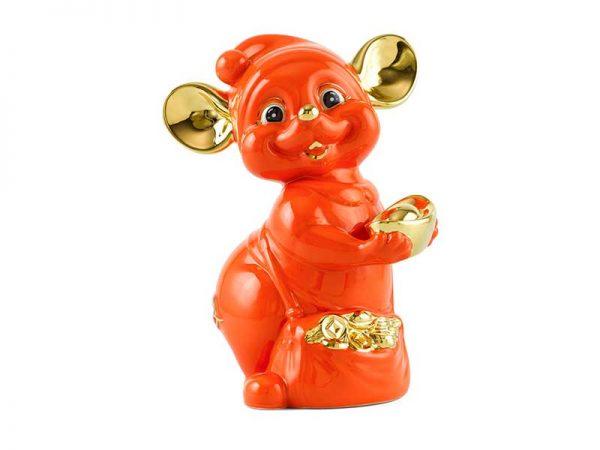 Chuột Quý 16 cm – Màu Cam - Trang trí vàng 24K
