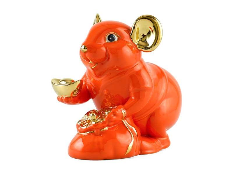 Chuột Phú 20 cm – Màu Cam – Trang trí vàng 24K