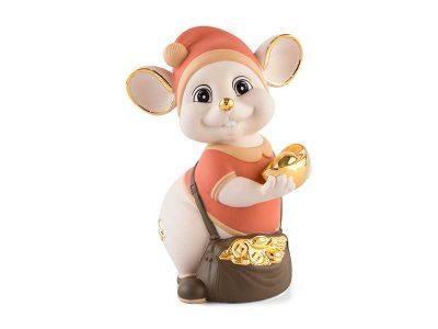 Chuột Quý 16 cm (màu Matt) - Cam - Họa tiết trang trí vàng