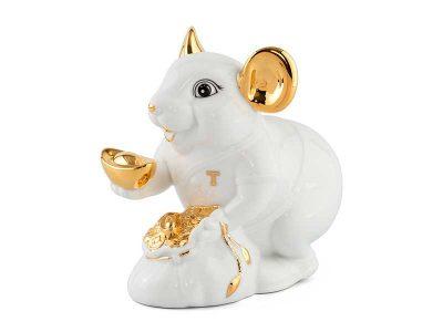 Chuột Phú 20 cm – Màu Trắng - Trang trí vàng 24K