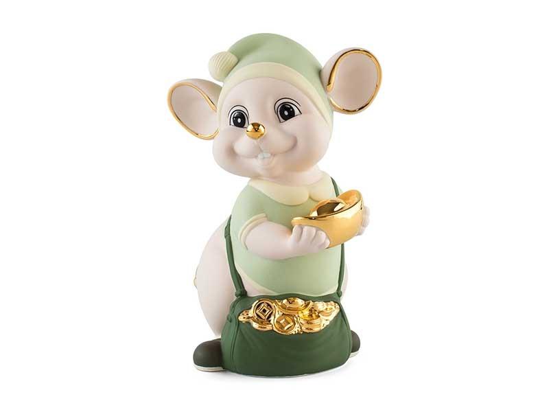 Chuột Quý 16 cm (màu Matt) – Xanh ngọc – Họa tiết trang trí