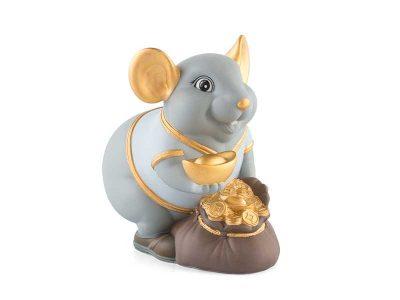 Tượng sứ, tượng sứ minh long, Chuột Phú 13 cm (màu Matt)- Xanh nhạt - Họa tiết trang trí