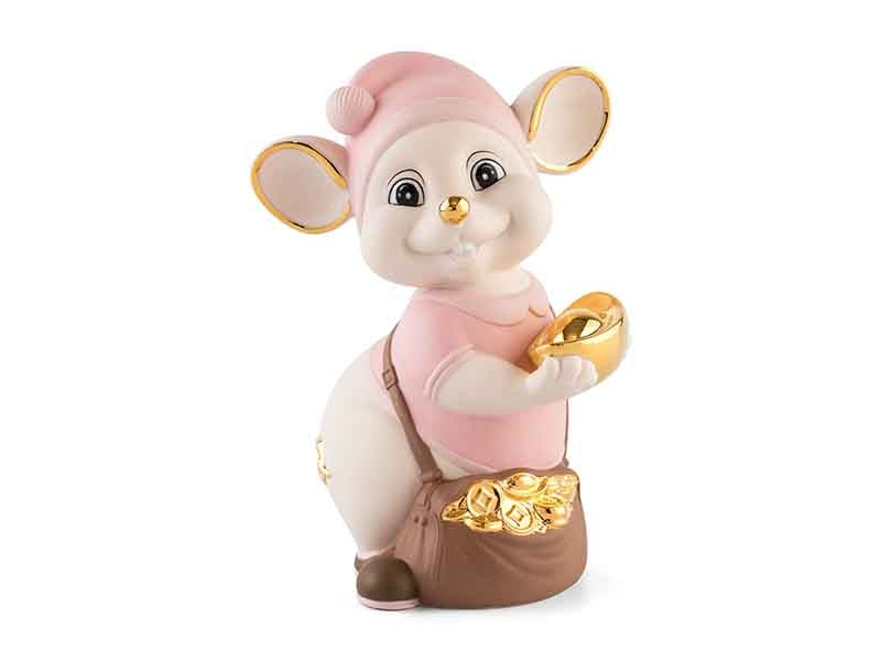 Chuột Quý 16 cm (màu Matt) – Hồng – Họa tiết trang trí vàng