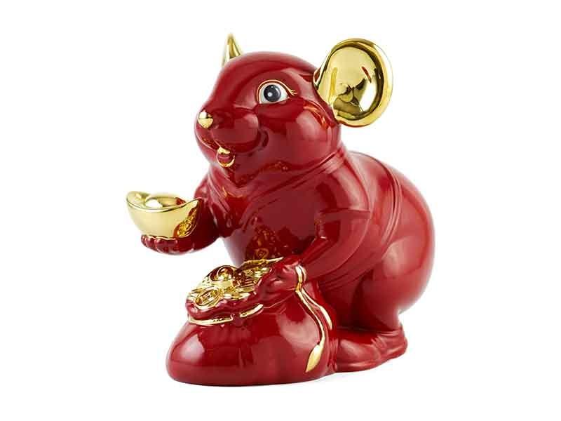 Chuột Phú 8 cm – Màu Đỏ – Trang trí vàng 24K