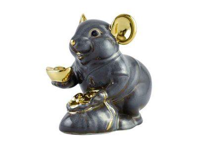 Chuột Phú 13 cm - Màu xám - Trang trí vàng 24K