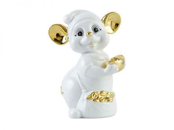 Chuột Quý 16 cm – Màu Trắng - Trang trí vàng 24K