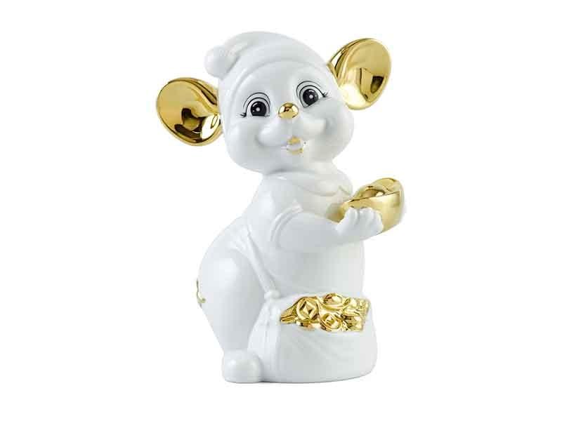 Chuột Quý 10cm – Màu Trắng – Trang trí vàng 24K