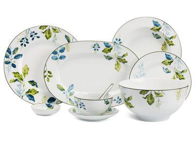 Bộ đồ ăn Âu-Á 45 sản phẩm - Camellia - Lá Xanh