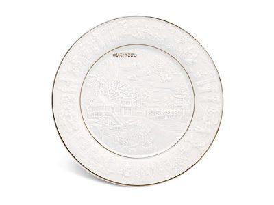 Dĩa tròn 16 cm - Phù Điêu Đất Nước - Chỉ Bạch Kim