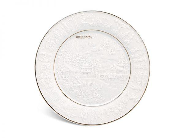 Dĩa tròn 20 cm - Phù Điêu Đất Nước - Chỉ Bạch Kim