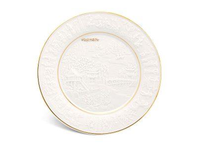 Dĩa tròn 20 cm - Phù Điêu Đất Nước - Chỉ Vàng