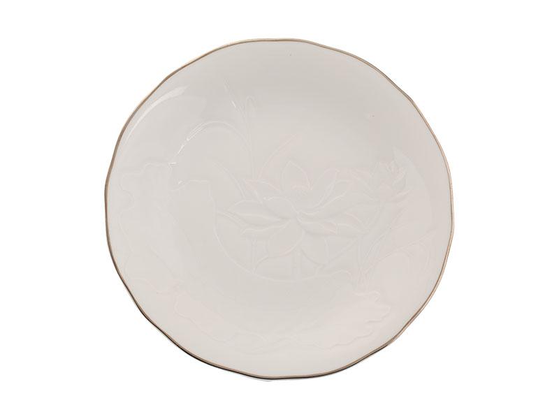 Dĩa tròn 20 cm - Sen IFP - Chỉ Bạch Kim