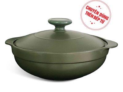 Nồi dưỡng sinh hai quai 3.0L + nắp (bếp từ) - HealthyCook - Xanh rêu