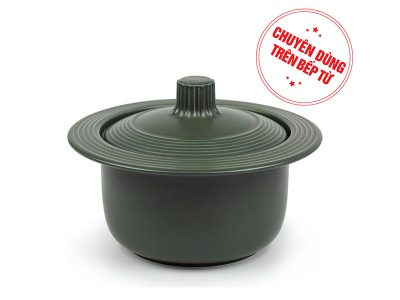 Nồi dưỡng sinh vành tròn 1.0 L + nắp núm liền (bếp từ) - HealthyCook - Xanh rêu