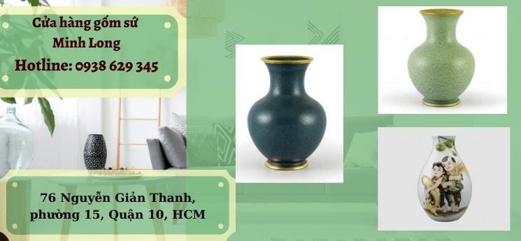 Bình Hoa Minh Long- Lộc Phát Sen Vàng Nền Xanh Ngọc 28cm