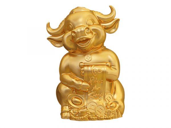 Trâu Vương Giả 30cm – Sen cobalt – Trang trí vàng