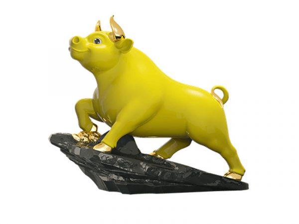 Trâu Thịnh Vượng 25cm – Dát Vàng – Quà Tặng